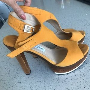 Jimmy Choo mustard suede with wooden heel